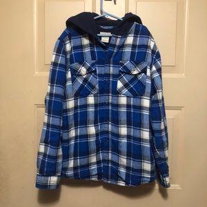 L.L. Bean Boy's Blue Plaid Hoodie Jacket